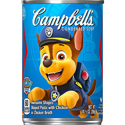 Campbell's Condensed Kids Soup, Nickelodeon Paw Patrol, Puppy- shaped pasta in chicken soup, 10.5 Ounce Can (Pack of 12) (Packaging May Vary)