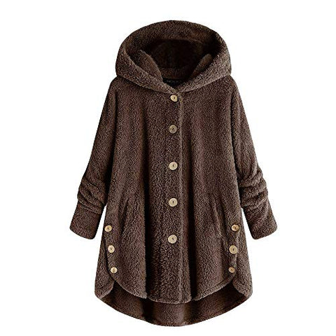 KYLEON Women's Coat Casual Winter Warm Sherpa Lined Button Hooded Sweatshirt Jacket Fleece Fuzzy Oversized Cardigan Coat