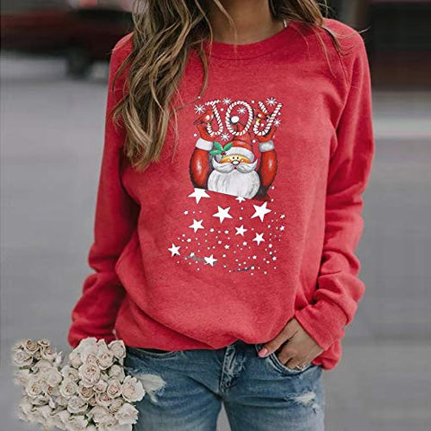 Womens Christmas Pullover Casual Print Long-Sleeved Sweatshirt Snowman Printed Loose Blouse Sweater