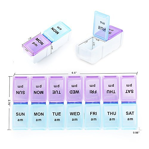 Pill Organizer, E-Crazy Pill Box Twice-a-Day, Weekly Pill Planner with Detachable Compartments, can be detached as Daily Pill Box, AM PM Pill Organizer