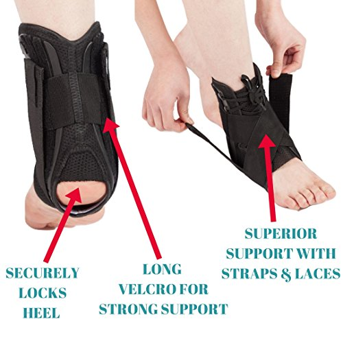 MEDIZED Ankle Stabilizer Brace Support Guard Protector Sports Safety Foot Strain Stirrup Compression Strap Speed Lacer Soccer Baseball Netball Volleyball (Medium)