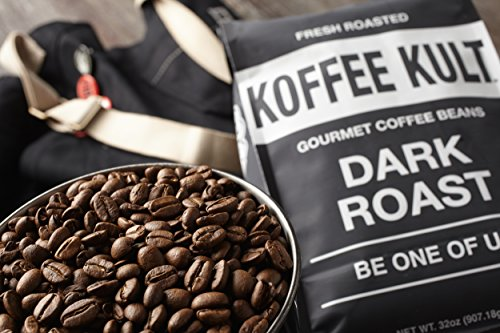 Koffee Kult Dark Roast Coffee Beans - Highest Quality Gourmet - Whole Bean Coffee - Fresh Roasted Coffee Beans, 32oz