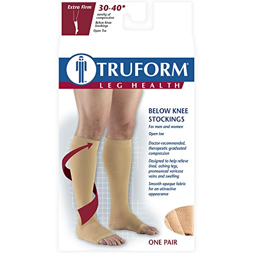 Truform 30-40 mmHg Compression Stockings for Men and Women, Knee High Length, Open Toe, White, 2X-Large