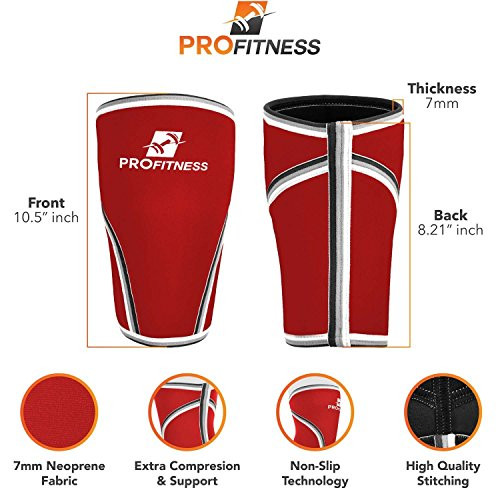 ProFitness Knee Sleeve (Pair) Squat Knee Support & Compression for Powerlifting, Weightlifting, Cross Training WOD, Bodybuilding - Extra Thick 7mm Neoprene Knee Sleeves (Red, X-Large)
