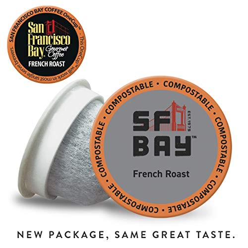SF Bay Coffee French Roast 36 Ct Dark Roast Compostable Coffee Pods, K Cup Compatible including Keurig 2.0 (Packaging May Vary)