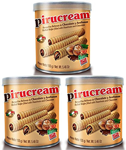 Three Pack Pirucream Rolled Wafers, Chocolate Hazelnut Can 155 grs./ 5.46 Oz - NFBA