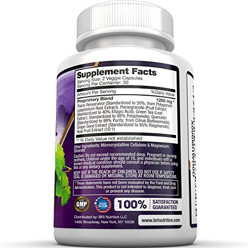 Bri Resveratrol   1200mg Potent Trans Resveratrol Natural Antioxidant Supplement With Green Tea And