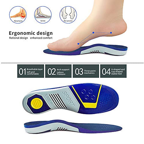 Plantar Fasciitis Arch Support Insoles, Orthotics Inserts for Men and Women Sport Shock Absorption Insoles - Relieve Metatarsal, Arch and Heel Pain,Muscle Fatigue and Stress on Lower Body Joints,etc