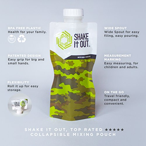Shake It Out Collapsible Shaker Bottle for Protein Shakes, Supplements - 12 Ounce Reusable, Recyclable, Travel Bottle (Camo, Single)