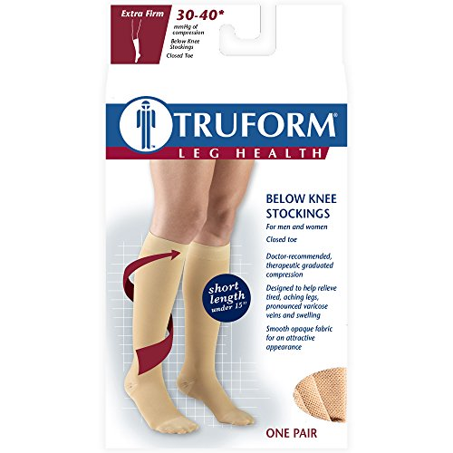 Truform Short Length 30-40 mmHg Compression Stockings for Men and Women, Reduced Length, Closed Toe, Beige, Medium