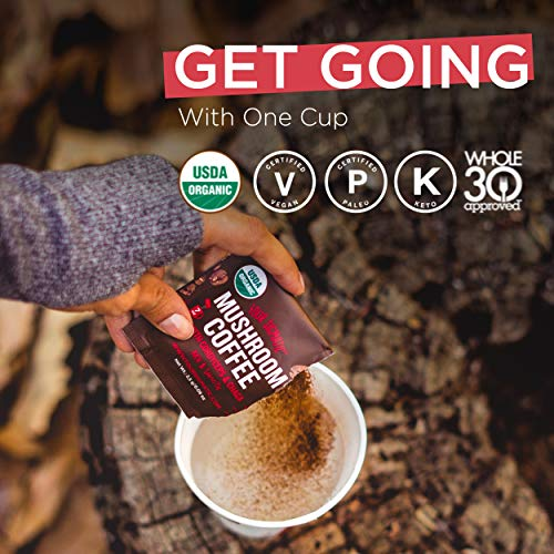 Mushroom Coffee By Four Sigmatic, Organic Instant Mushroom Coffee With Cordyceps And Chaga Mushrooms