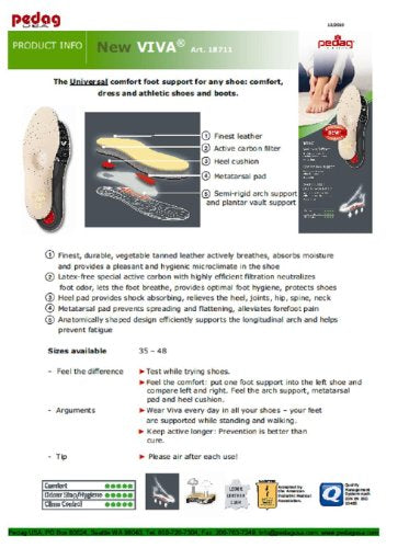 Pedag Viva Orthotic with Semi-Rigid Arch Support, Met and Heel Pad, Leather, US W12/M9/EU42