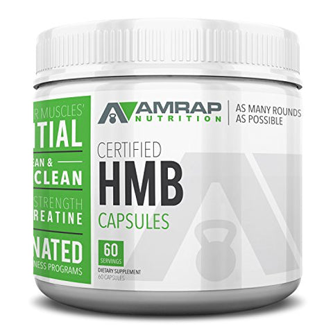 AMRAP Nutrition Vegan HMB Capsules, 750mg, WADA Compliant, Athlete Approved (60 Servings)