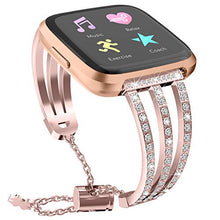 Bling Wristband for Fitbit Versa,elecfan Metal Bracelet Rhinestone Wristband Stainless Steel Rhinestone Watch Strap Replacement Accessories Strap for Fitbit Versa/Versa 2/Versa Lite (Rose Gold)