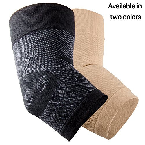 OS1st ES6 Elbow Compression Bracing Sleeve (One Sleeve) relieves Tennis or Golfer's Elbow, Cubital Tunnel Syndrome, Supports Damaged tendons & Controls Forearm Pain (Black, Small)