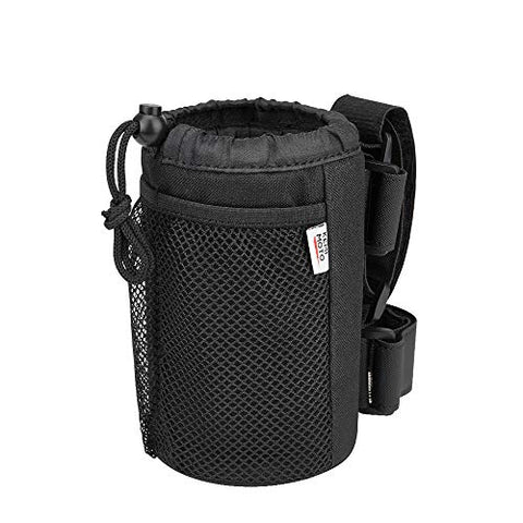 kemimoto Wheelchair Cup Holder, Rollator Drink Holder Universal Walker Cup Holder Stroller Water Bottle Carrier with Mesh Pockets-Washable Collapsible Adjustable, Black