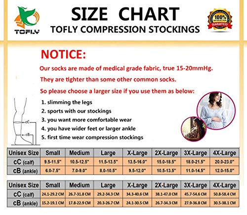 Knee High Compression Stockings, TOFLY Firm Support 20-30mmHg Opaque Maternity Pregnancy Compression Socks, Open-Toe, Ankle & Arch Support, Swelling, Varicose Veins, Edema, Beige XL