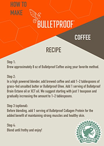 Bulletproof Coffee The Original Whole Bean Decaf, Premium Gourmet Medium Roast Organic Beans, Rainforest Alliance Certified, Clean, Upgraded Clean Coffee (12 Ounces)