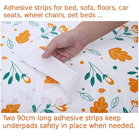 GoldenSwan Disposable Incontinence Bed Pads 10pack underpads Bedwetting Pads Mattress Protector Sheets Mats Liner for Women, Adult, Kids, Travel High Absorbency Anti-Slippery Adhesive Strips (10pcs)