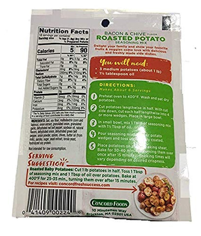 Concord Farms Roasted Potato Bacon & Chive Seasoning Mix 1.25oz Package (VALUE Case of 18 Packages)
