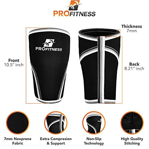 ProFitness 7MM Knee Sleeve (Pair) - Squat Knee Support & Compression for Powerlifting, Weightlifting, Crossfit WOD, Bodybuilding - Extra Thick Neoprene Knee Sleeves - Both Men & Women