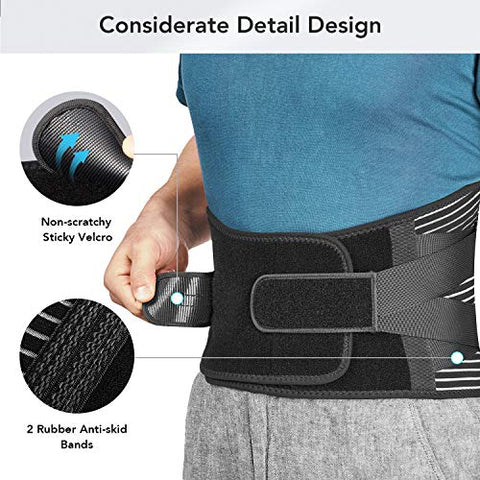 Freetoo Back Braces for Lower Back Pain Relief with 6 Stays, Breathable Back Support Belt for Men/Women for work , Anti-skid lumbar support belt with 16-hole Mesh for sciatica(M)