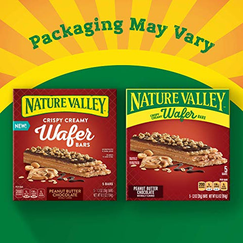 Nature Valley Crispy Creamy Wafer Bars Peanut Butter Chocolate, 5 ct