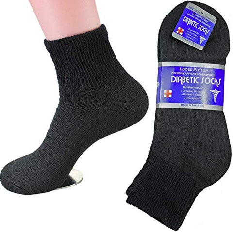 Diabetic Ankle Socks, Non-Binding Circulatory Doctor Approved Cushion Cotton Quarter Socks for Mens Womens (12 Pack Black, Big & Tall Men's 13-15 Shoe Size 9-14)