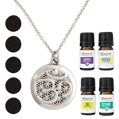 mEssentials Aum Om Aromatherapy Essential Oil & Diffuser Necklace Gift Set (Lavender Peppermint Zen Inner Calm)
