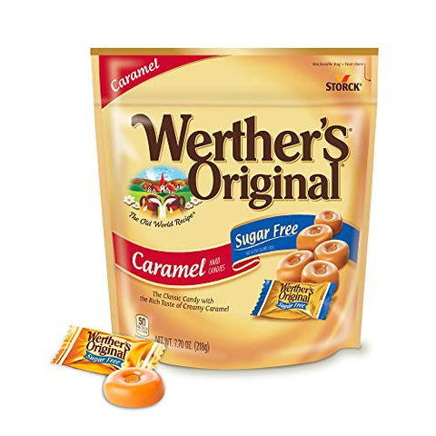 WERTHER'S ORIGINAL Sugar Free Caramel Hard Candies, 7.7 Ounce Bag, Hard Candy, Individually Wrapped Candy Caramels, Caramel Candy Sweets, Bag of Candy