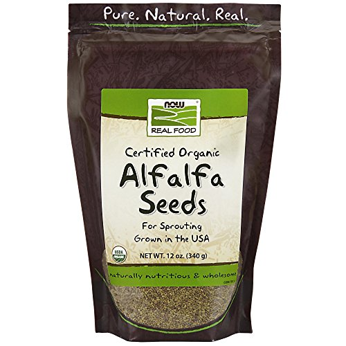 NOW Foods, Organic Alfalfa Seeds For Sprouting, Grown in the USA, Certified Non-GMO, 12-Ounce