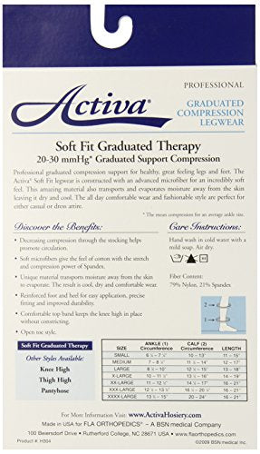 Activa Soft Fit 20-30 mmHg Knee High with Open Toe Stockings, Beige, Small