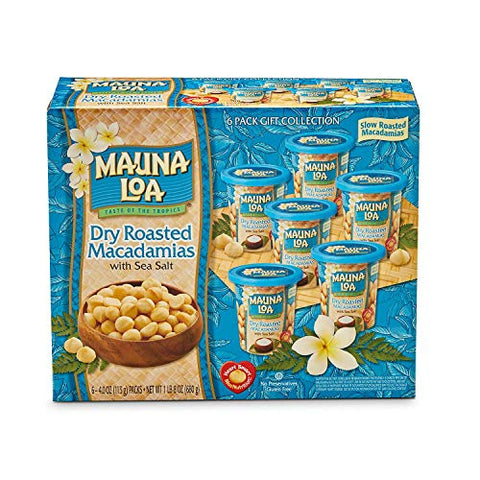 Mauna Loa Dry Roasted Macadamia Nuts with Sea Salt Box Set - 4 oz cans, Pack of 6