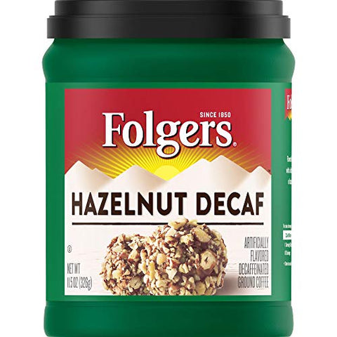 Folgers Hazelnut Decaf Flavored Decaffeinated Ground Coffee, 11.5 Ounces