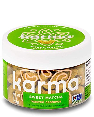 Karma Nuts Sweet Matcha Cashews | 6 Count - 8 oz Jars | Whole Cashews | Air Roasted, No Oil | Natural, Minimally Processed | Non-GMO, Gluten-Free, Vegan, Kosher | Antioxidants + Fiber