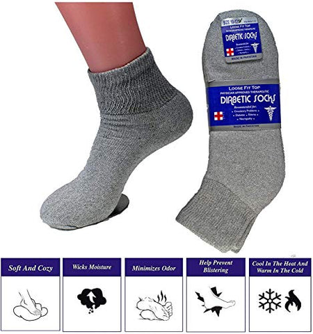 Diabetic Ankle Socks, Non-Binding Circulatory Doctor Approved Cushion Cotton Quarter Socks for Mens Womens (12 Pack Grey, Big & Tall Men's 13-15 Shoe Size 9-14)
