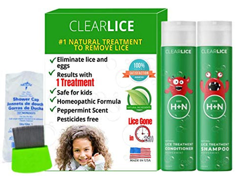 ClearLice Lice Treatment Product Bundle (Shampoo + Conditioner + Comb + Cap)
