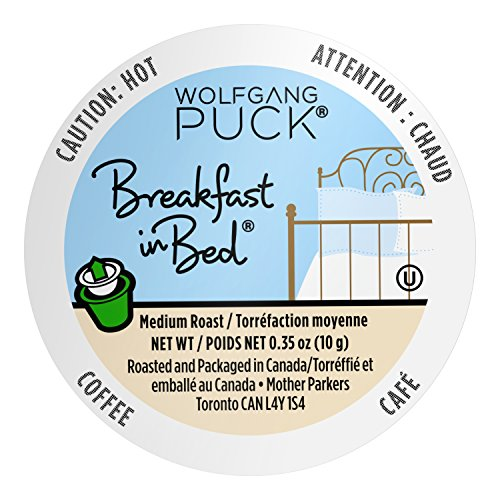 Wolfgang Puck Coffee Single Serve Capsules, Breakfast in Bed, Medium Roast, Compatible with Keurig K-Cup Brewers, 18 Count