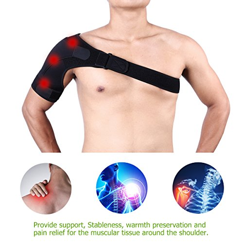 WINOMO Shoulder Brace Support For Men Women Breathable Support With Adjustable Strap Rotator Cuffs AC Joint Dislocated Prevention Tear Injury Relieve Pain Stabilize Protect Shoulders (Black)