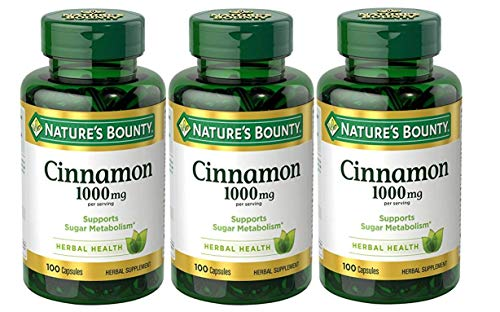 Nature's Bounty Cinnamon Pills and Herbal Health Supplement, Promotes Sugar Metabolism and Heart Health, 1000mg, 100 Capsules, 3 Pack