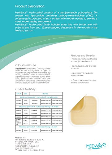 "Med Vance Tm Hydrocolloid â?? Hydrocolloid Adhesive Thin Dressing, 4""X4"", Box Of 5 Dressings"