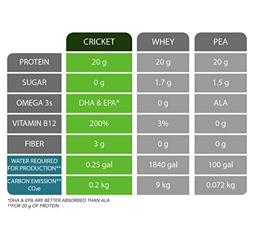 Mighty Cricket Vanilla Protein Powder (1 lb) - 20g Complete Protein per Serving + Vitamin B12 + Omega-3, 100% Natural, No Added Sugar, Non-Whey, Dairy Free, Soy Free, Egg Free, Gluten Free
