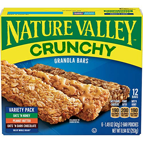 Nature Valley, Crunchy Granola Bar Variety Pack (Oats 'n Dark Chocolate, Peanut Butter, and Oats 'n Honey), 1.49 oz, 24 Bars