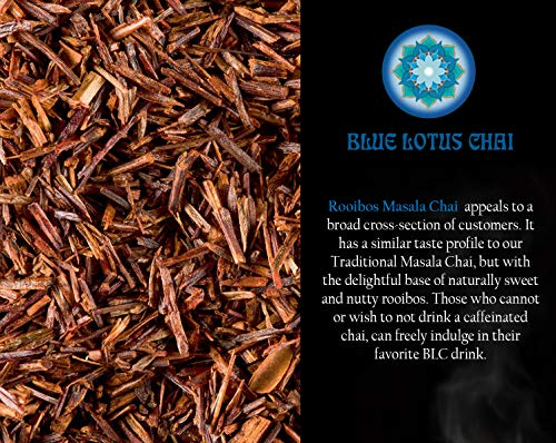 Blue Lotus Chai - Rooibos Flavor Masala Chai - Makes 65 Cups - 2 Ounce Masala Spiced Chai Powder with Organic Spices - Instant Indian Tea No Steeping - No Gluten