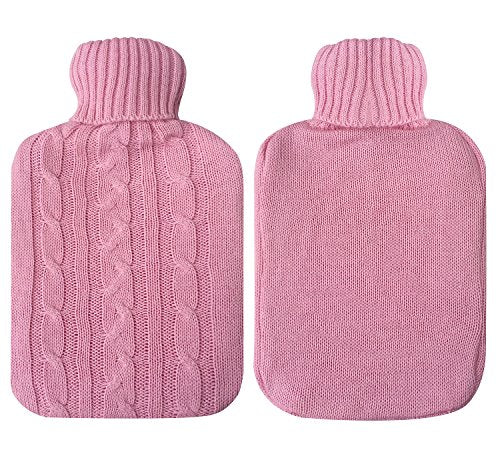 Attmu Classic Rubber Transparent Hot Water Bottle 2 Liter With Knit Cover   Pink