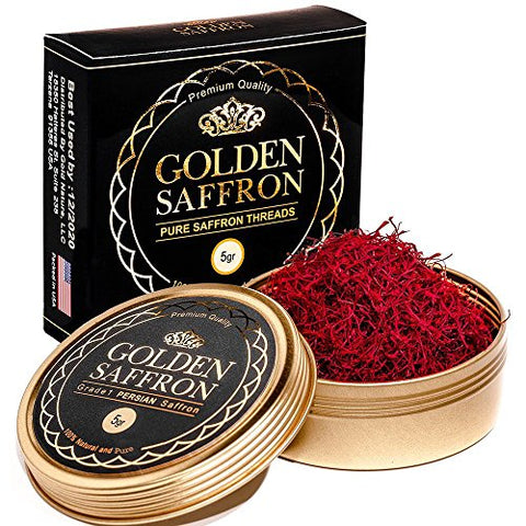 Golden Saffron, Finest Pure Premium All Red Saffron Threads, Grade A+, Highest Grade (5 Grams)