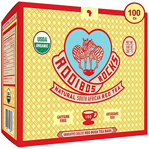 Rooibos Tea Organic Tagless Teabags - 100 Non GMO Naturally Caffeine Free South African Red Bush Herbal Tea Bags By Rooibos Rocks - USDA Organic Rooibos Teas, A Taste of Africa - Feel the Goodness