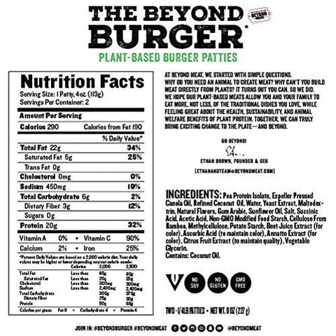 Beyond Meat Burger, World's First Plant-Based Burger, Vegan, No GMOs, Soy or Gluten , 8 Fl Oz | Pack of 8
