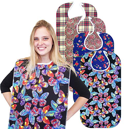 "RMS Adult Bib Washable Reusable Waterproof Clothing Protector with Vinyl Backing 34""X18"", Designer Patterns (Vivid Butterfly)"