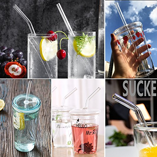 "Hiware Reusable Glass Drinking Straws - 10"" x 10 mm - Smoothie Straws for Milkshakes, Frozen Drinks, Smoothies, Bubble Tea - Environmentally Friendly"